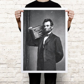 Abraham Lincoln boombox listening to music art print poster