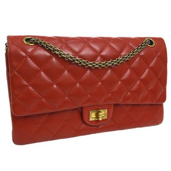 Auth CHANEL 2.55 Quilted CC Double Flap Chain Shoulder Bag Red Leather V23028