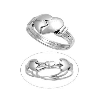 925 Sterling Silver Broken Heart 7MM Movable Ring