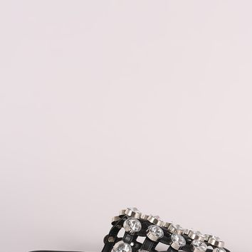 Oversized Jeweled Accent Caged Slide-On Mules