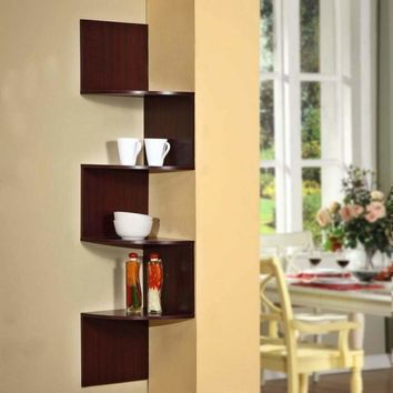 4D Concepts Cherry Colored Authentic Hanging Cornered Storage Shelf