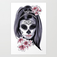Sugar Skull Girl Art Print by Smyrna