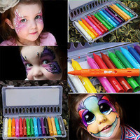 16 Colors Face Painting Pencils Splicing Structure Face Paint Crayon Christmas Halloween Body Painting Pen Stick For Children