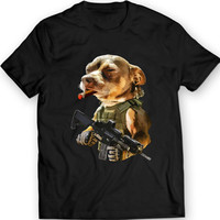 Pitbull Cigar Badass T-Shirt Mens Gift Idea