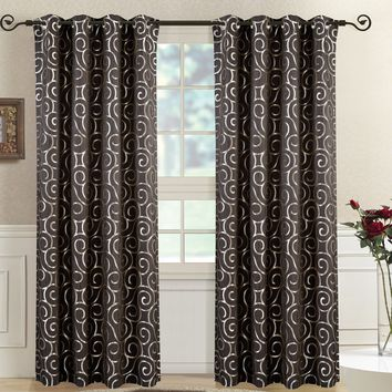 Chocolate Pair (Two Panels ) Top Grommet Window Curtain Panels Abstract Jacquard Tuscany