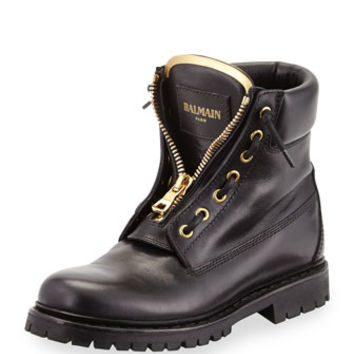 Balmain Zip-Front Leather Ranger Boot, Black