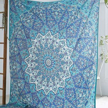 LMF9GW New Hippie Round Mandala Tapestry Indian Wall Hanging Beach Throw Towel Mat