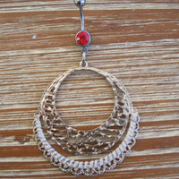 Belly Button Ring - Body Jewelry - Gold Circular Charm with Red Gem Belly Button Ring