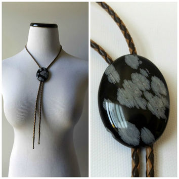 80s Agate Stone Bolo Tie Vintage Black and Gray Necktie Mens Accessories Brown Woven Cord Silver Metal Tips 1980s Western Hipster Necklace