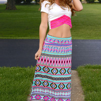 Plenty Of Love Maxi Skirt: Multi