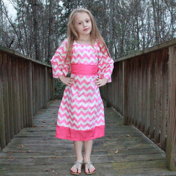 Girls Pink Chevron Dress with Belt.