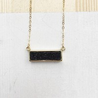 Black Druzy Bar Pendant