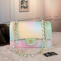 """Chanel"" All-match Fashion Personality Rainbow Metal Chain Single Shoulder Messenger Bag Women Flip Handbag"