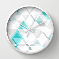 Teal and Grey Triangle Design Wall Clock by T30 Gallery