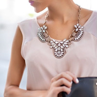 Lifestyle Floral Rhinestone Collar Necklace With Metal
