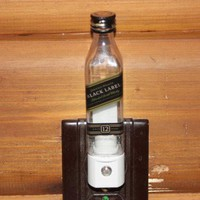 Upcycled Mini Johnny Walker Black Label Bottle Night Light, LED Night Light