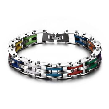 Mprainbow Men Bike Link Bracelets with 316L Stainless Steel Rainbow Rubber Bracelet for Men Jewelry with 8.5 inches