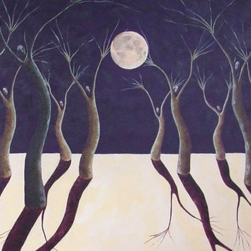 Moon Dance Original Surreal Night Sky Landscape Painting