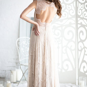 Boho wedding dress, open back wedding dress, lace wedding dress, Bohemian wedding dress, lace back wedding dress
