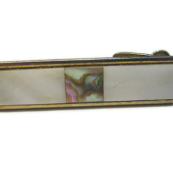 Vintage Mother of Pearl and Abalone Inlaid Tie Clip Clasp Bar