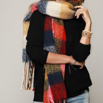 Soft Brushed Plaid Scarf