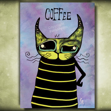 Coffee Cat Art - Funny kitchen decor - animal illustration on paper