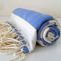 Turkish Towel Peshtemal Natural Nautical Blue by TurkishBathTowels