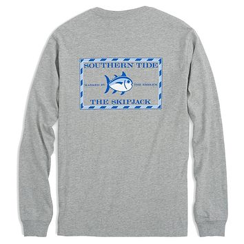 Long Sleeve Heathered Original Skipjack Tee in Grey Heather by Southern Tide - FINAL SALE