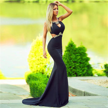 Sexy Halter Neck Off The Shoulder Sweep Train Party Evening Gown With Beading Black Open Back Chiffon Mermaid Prom Dress