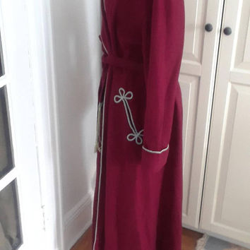 "1940s Burgundy Robe, Dressing Gown, with Baby Blue Trim, Wool, Wrap, Tassle Belt, Size M/L, 22"" B, As Is"