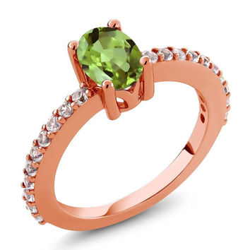 1.10 Ct Green Peridot White Created Sapphire 18K Rose Gold Plated Silver Ring