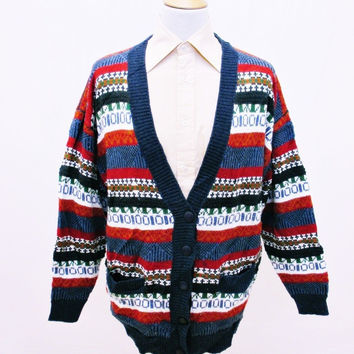 Vintage 90s Warm Cable Chunky Knit Striped Cardigan Large