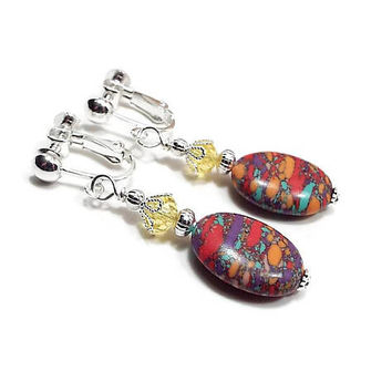 Yellow and Multi Color Drop Earrings, Spring Jewelry, Colorful Resin Beaded, Silver Plated, Clip on Earrings Lever Back Hook