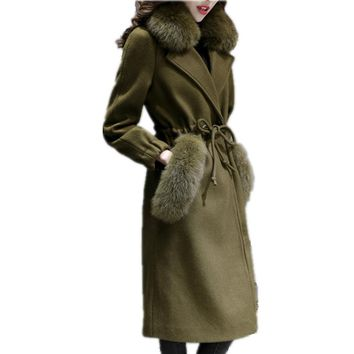 Women's Cashmere Coat Winter Faux Fox Fur Collar Wool jacket Adjustable Waist Slim Women Long Coat Long Wool Coat Female LCY45