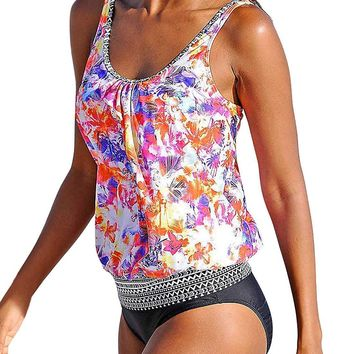 Happy Sailed Women Push up Padded Printed Sporty Tankini Swimsuits Bathing Suit, Medium Multicolored