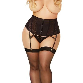 Sexy Dolly Plus Size Satin and Geo Quilted Gartered Waspie and Thong