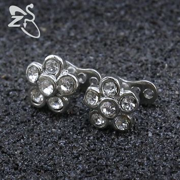 Crystal Flower Zircon Skin Diver Dermal Anchor Surface Piercing Stainless Steel Titanium Micro Dermal Anchor Piercing Jewelry