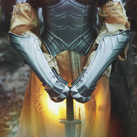 ARM PROTECTIONS - Steel Armor Bracers with glove of Female Armor Queen of the Lake  - Pair