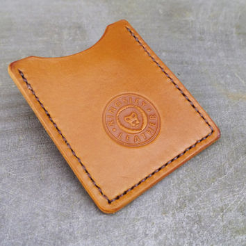 Handcrafted Leather Card Holder with Money Clip - Antique Tan / Light Brown - Slim Wallet
