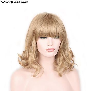 WoodFestival dark/light brown black blonde heat resistant curly synthetic wigs with bangs short hair wigs for women