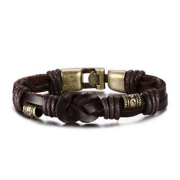 Vintage Leather Bronze Alloy Buckle Bracelet