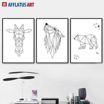 Geometry Deer Bear Wolf Line Drawing Wall Art Canvas Painting Nordic Posters And Prints Wall Pictures For Living Room Wall Decor