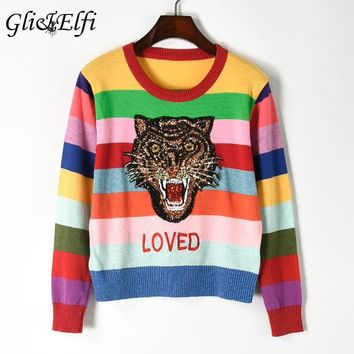 Sweater Women 2018 Autumn Winter Casual Femme Pullover Tops Sequined Tiger Rainbow Striped Knitted blusas Embroiderid Knitwear