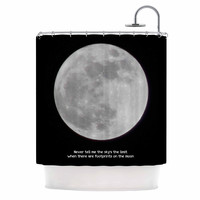 """Sylvia Coomes """"The Moon"""" Black White Shower Curtain"""