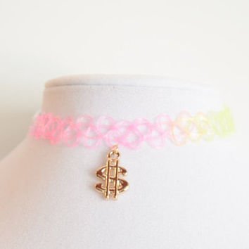 gold money dollar sign charm tattoo choker ~ more color options