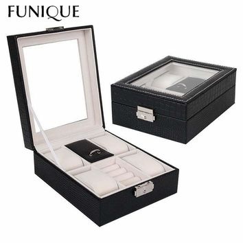 FUNIQUE Jewelry Packaging Box Casket Box For Exquisite PU Watch Box Noble Serpentine Leather Multi-functional Jewelry Box