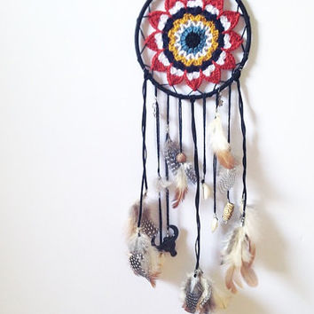 D r e a m c a t c h e r | Dreamcatcher | Crochet accessories | Crochet dreamcatcher | Handmade | Tribal accessories | Indian dreamcatcher |