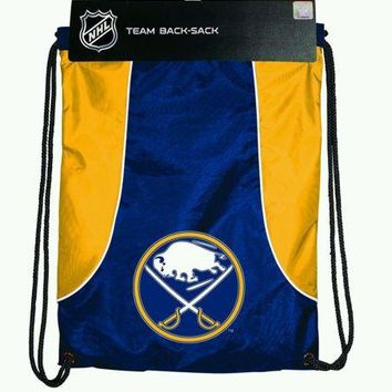 NEW Buffalo Sabres Axis Backsack Draw String Backpack Water Resistant Blue Gold