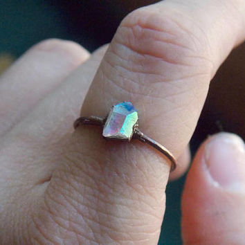 Angel Aura Quartz Copper Stacking Ring Size 5 1/2 // Electroformed Hippie Boho Jewelry