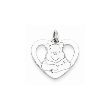 Sterling Silver or Yellow Gold Plated Disney Winnie the Pooh Heart Charm
